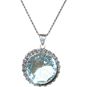 Vintage Sterling Necklace /Pendant Lg Faux Blue Topaz