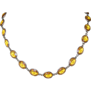 Vintage Sterling Link Necklace Faux Citrines 1930's
