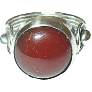 Vintage Sterling Carnelian Modernist Ring