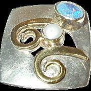 Vintage Modernist Pendant Sterling/14K Opal by G.A
