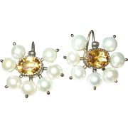 Antique 14K Earrings Citrine Salt Water Cultured Pearls