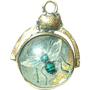 Antique 14K Watch Fob Rock Crystal Insect Design