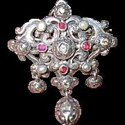 Georgian Brooch/Pendant Rose Cut Diamonds Rubies