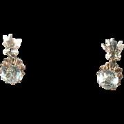 Antique 14K Rose Gold Drop Earrings Paste Stones 1860's
