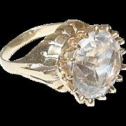 Vintage 14K Lg Faux Diamond Ring Openwork