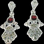 Art Deco Drop Earrings Sterling Marcasite Garnet