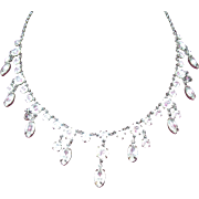 Vintage Crystal Glass Teardrop Necklace