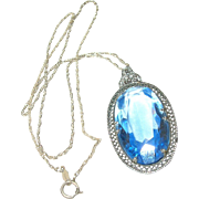 Vintage Filigree Pendant Sterling Necklace Faux Blue Topaz