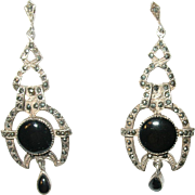 Art Deco Drop Earrings Sterling Black Onyx Marcasite