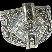 Art Deco Ring Sterling Marcasite Faux Diamond