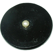 Victorian 10K Black Onyx Salt Water Seed Pearl Mourning Brooch