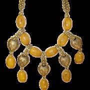 Vintage Bakelite Gold Wash Bibb Necklace