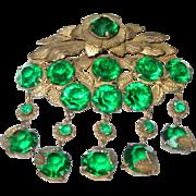 Antique Brooch Green Paste Stones Teardrop 1880's
