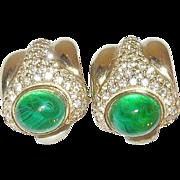 Vintage Ciner Earrings Cabochon Faux Emeralds/Diamonds