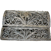 Vintage 900 Coin Silver Vanity Box Filigree Work