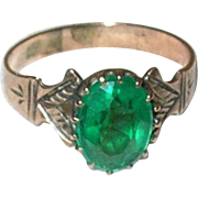 Edwardian 10K Ring Faux Green Stone