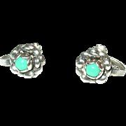 Vintage Earrings Sterling/Turquoise Flower Design