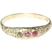 Edwardian 10K Ring Hand Chased Design Rubies