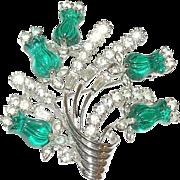 Vintage Rare Pennino Faux Gripoix Emerald/Diamond Brooch