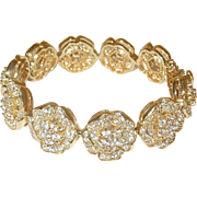 Vintage Sterling/Vermeil Link Bracelet Faux Diamonds