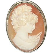 Vintage 800 Coin Silver Shell Cameo Pendant Brooch