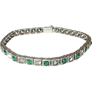 Vintage Sterling Bracelet Faux Diamond/Emerald