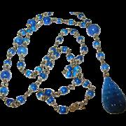 Vintage Necklace Pendant Blue Lapis Beads 1930's