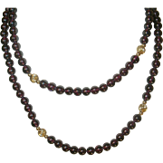 Vintage Garnet Gold Filled Bead Necklace