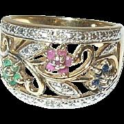 Vintage Sterling/Vermeil Ring Rubies/Sapphires/Emeralds
