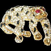 Vintage Leopard Brooch Enamel/Rhinestones