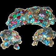 "HAR ""Lava Rock"" A.B. Fantasy Stone Enamel Dragon Brooch/Earring Set"