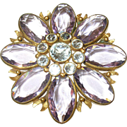 Joseff of Hollywood Lg Brooch Lavender/White Faceted Crystals