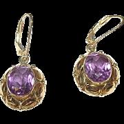 Edwardian 14K Amethyst Drop Earrings