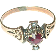 Edwardian 10K Rose Gold Ring Sea Salt Water Pearls Garnet