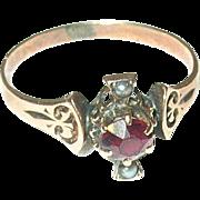 Edwardian 10K Rose Gold Ring Sea Salt Water Pearls Garnet