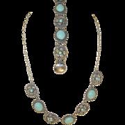 Vintage Necklace/Bracelet Set 800 Coin Silver Turquoise