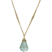 Vintage Gold Fill Necklace Pendant Faux Topaz