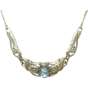 Vintage Gold Fill Necklace Faux Aquamarine 1930's