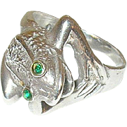 Vintage Sterling Ring Frog Design