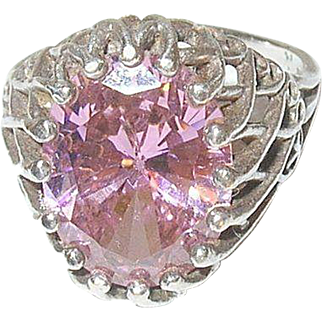 Vintage Sterling Ring by Kabana Pink Glass Stone