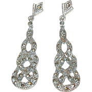 Vintage Sterling Marcasite Drop Earrings