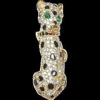 Vintage Brooch Leopard Rhinestones/Enamel