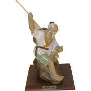 Vintage Chinese Clay Figure Fisherman