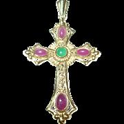 Vintage 14K Cross Pendant Cabochon Ruby Emerald