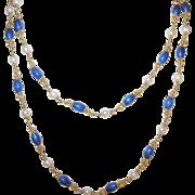 Vintage 18K Link Necklace Blue Enamel Salt Water Cultured Pearl