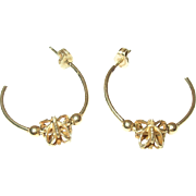 Vintage 14K Butterfly Hoop Earrings