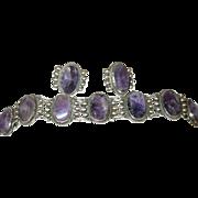Vintage Taxco Sterling Amethyst Link Bracelet/Earring Signed