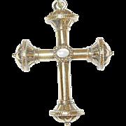 Vintage Sterling/Vermeil Cross Pendant Moonstone