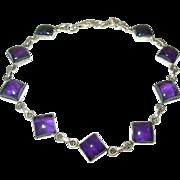 Vintage Sterling Amethyst Link Bracelet