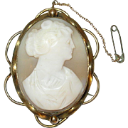 Antique Lg Shell Cameo Brooch 1860's